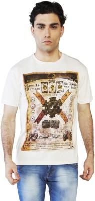 Globus Printed Men's Round Neck White T-Shirt