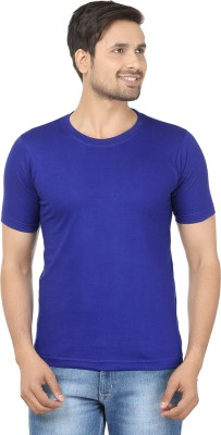 Louis Mode Solid Men's Round Neck Blue T-Shirt
