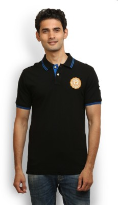 Police Solid Men's Polo Neck Black T-Shirt