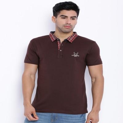 Le Bison Solid Men's Polo Neck Brown T-Shirt