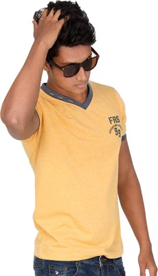 Furious Active Solid Men's V-neck Yellow, Grey T-Shirt