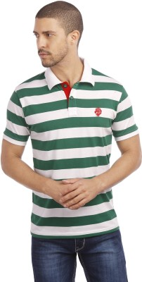 Leo Striped Men's Polo Neck Green T-Shirt