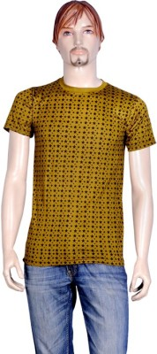 point sevan Printed Men's Round Neck Gold T-Shirt