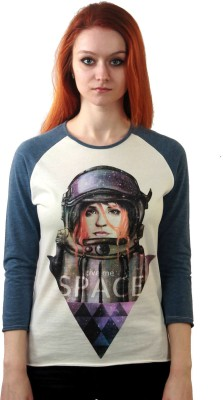 Kultprit Solid, Printed Women's Round Neck White, Black T-Shirt