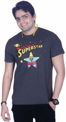Ektarfaa Printed Men's Round Neck Grey T-Shirt