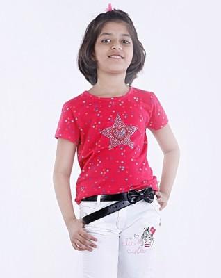 Milou Geometric Print Girl's Round Neck T-Shirt