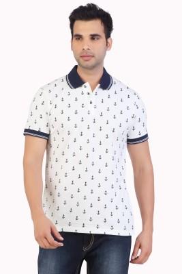Free Spirit Printed Men's Polo White T-Shirt