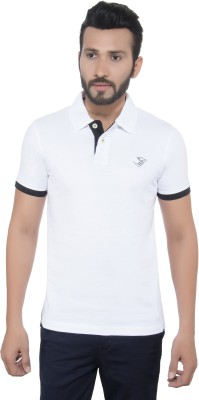 GreyBooze Solid Men's Polo White T-Shirt