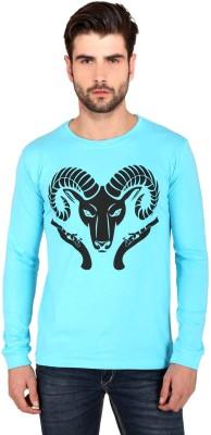 Attabouy Printed Men's Round Neck Blue T-Shirt