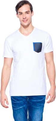 Mufti Solid Men's V-neck White T-Shirt