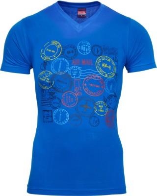 Mangoman Printed Men's V-neck Dark Blue T-Shirt