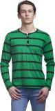 Clo Clu Striped Men's Round Neck Green T...