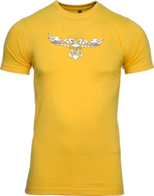 Mangoman Printed Men's Round Neck Yellow T-Shirt
