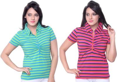 sinimini Striped Women's Polo Neck Orange, Light Blue T-Shirt