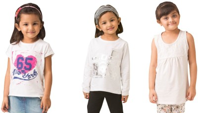 Bluebuck Printed Girl's Round Neck Multicolor T-Shirt