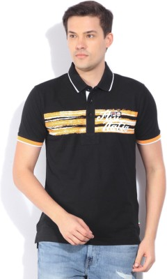 Fila Printed Mens Polo Neck Black T-Shirt