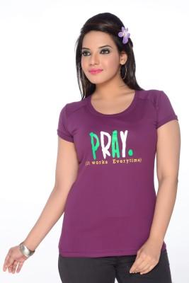 No Problem Printed Women's Round Neck Purple T-Shirt