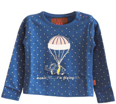 My Little Lambs Polka Print Baby Girl's Round Neck Dark Blue T-Shirt