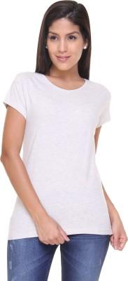 Alibi By Inmark Solid Women's Round Neck Grey T-Shirt