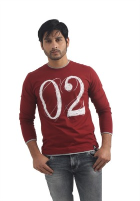 Integriti Printed Men's Round Neck Maroon T-Shirt