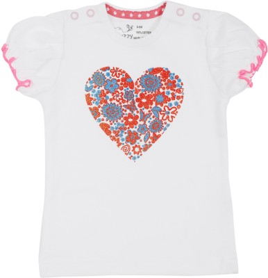Buzzy Animal Print Baby Girl's Round Neck Multicolor T-Shirt