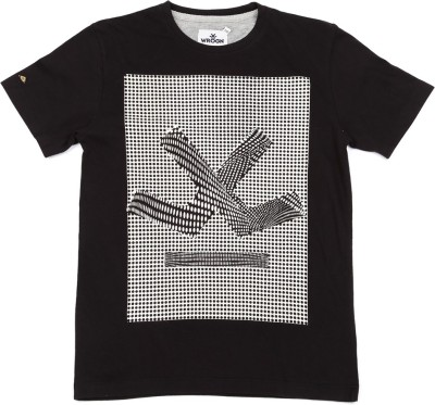 WROGN Printed Boy's Round Neck Black, White T-Shirt