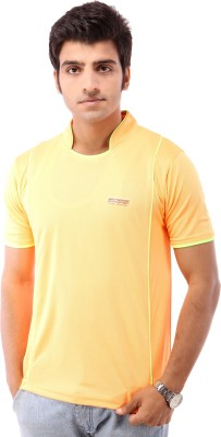 Being Champion Solid Men's Flap Collar Neck Yellow T-Shirt