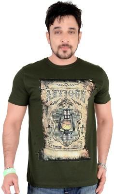 Moncheri Printed Men's Round Neck Green T-Shirt
