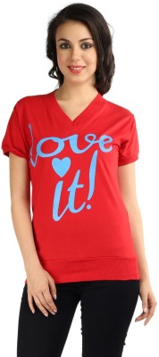Wajbee Printed, Solid Women's V-neck Red T-Shirt