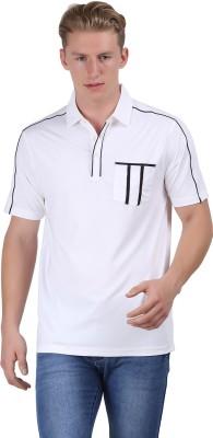 Euro Open Solid Men's Polo White T-Shirt