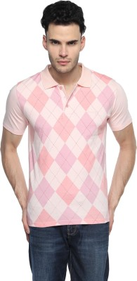 Swing9 Printed Men's Polo Neck Pink T-Shirt