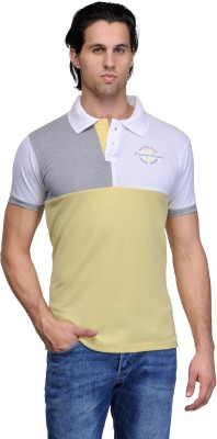Canary London Solid Men's Polo Neck Grey, Yellow T-Shirt
