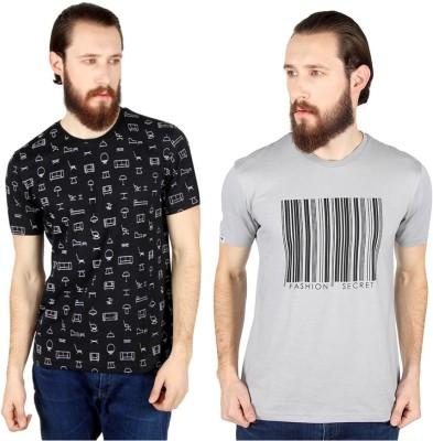 Threads & Pals Printed Men's Round Neck Black, Grey T-Shirt