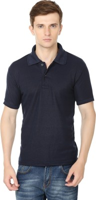 Club Vintage Solid Men's Polo Neck Dark Blue T-Shirt