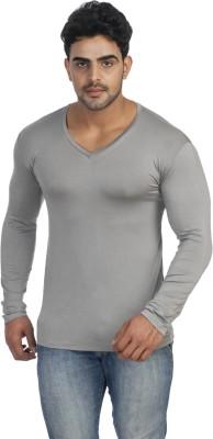 Male Basics Solid Men's V-neck Grey T-Shirt