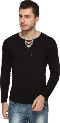 Pepperclub Solid Men's Round Neck Black T-Shirt