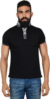 Gotit Solid Men's Mandarin Collar Black T-Shirt