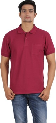 Anytime Solid Men's Polo Neck Maroon T-Shirt