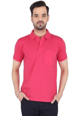 Awack Solid Men's Polo Neck Pink T-Shirt