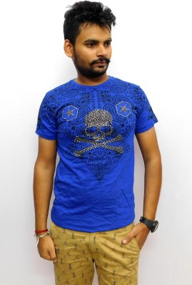 Indiano Printed Men,s Round Neck Blue T-Shirt