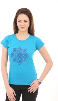 Ultrafit Printed Women's Round Neck Blue T-Shirt
