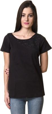 Rute Solid Women's Round Neck Black T-Shirt