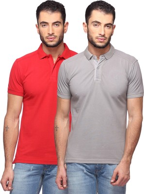 GOAT Solid Men's Polo Neck Red, Grey T-Shirt