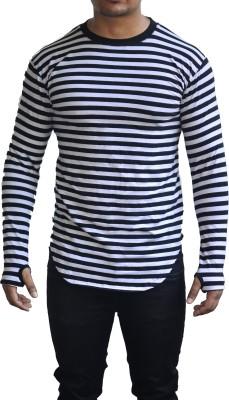 FugazeeLifestyle Striped Men's Round Neck Black, White T-Shirt