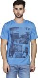 Scottish Printed Men's Round Neck Blue T...
