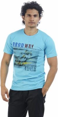 Adventure Printed Men's Round Neck Blue T-Shirt
