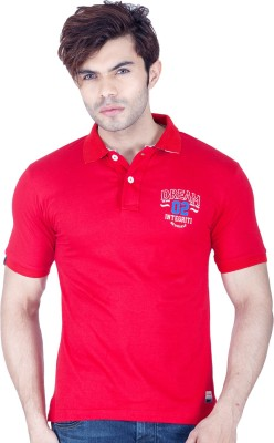 Integriti Printed Men's Polo Neck Red T-Shirt