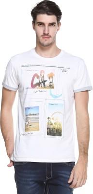OCTAVE Printed Men's Round Neck White T-Shirt