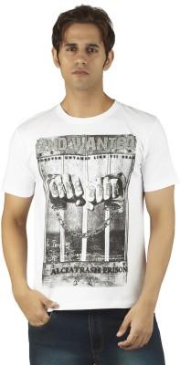 Soulrebel Graphic Print Men's Round Neck White T-Shirt