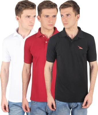 PRO Lapes Solid Men's Polo Neck Black, White, Maroon T-Shirt